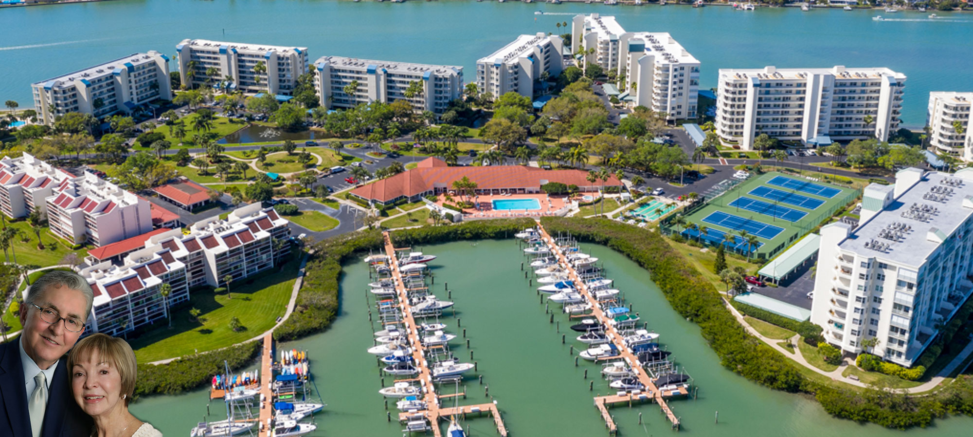 High Aerial View of HarbourSide Condos Property